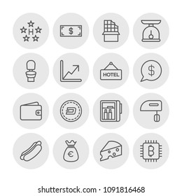 Vector illustration of outline icons for food, hotel, money on white background. Set includes  dessert,  wealth, bitcoin,  sweet,  dairy,  mustard, food,  room, purse modern flat and material icons.