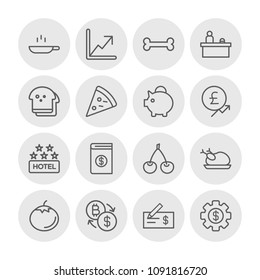 Vector illustration of outline icons for food, hotel, money on white background. Set includes  ripe,  office,  interior, bitcoin, chicken,  desk,  room,  poultry, food modern flat and material icons.