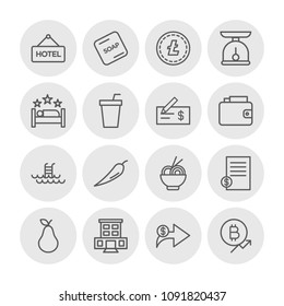 Vector illustration of outline icons for food, hotel, money on white background. Set includes hotel,  swimming,  summer,  bitcoin,  meal, food,  bill,  white, currency modern flat and material icons.