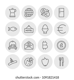 Vector illustration of outline icons for food, hotel, money on white background. Set includes fish,  sign, sweet, fridge,  espresso, drink, fork,  finance,  bitcoin modern flat and material icons.