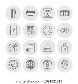 Vector illustration of outline icons for food, hotel, money on white background. Set includes  tomato,  background,  city,  bill,  food, bitcoin,  cooking,  coin,  euro modern flat and material icons.