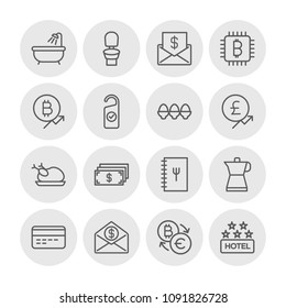 Vector illustration of outline icons for food, hotel, money on white background. Set includes  food, hotel,  espresso,  investment, bitcoin,  usd,  poultry,  coffee modern flat and material icons.