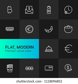 Vector illustration of outline icons for food, hotel, money on dark background. Set includes  gourmet,  easter,  business, food,  delicious,  motel, bitcoin,  finance modern flat and material icons.