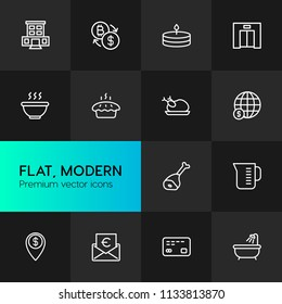 Vector illustration of outline icons for food, hotel, money on dark background. Set includes  sweet,  tool,  water,  kitchen, hotel,  fresh, bitcoin,  roasted,  metal modern flat and material icons.