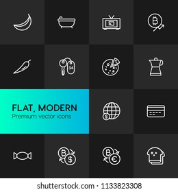 Vector illustration of outline icons for food, hotel, money on dark background. Set includes  hygiene, sugar,  currency,  food,  candy,  hot,  spa,  tomato, bitcoin modern flat and material icons.