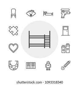 Vector illustration of outline icons for furniture, valentine, kids and toys on white background. Set includes  black,  celebration,  bib, gift,  piece,  music, droid modern flat and material icons.
