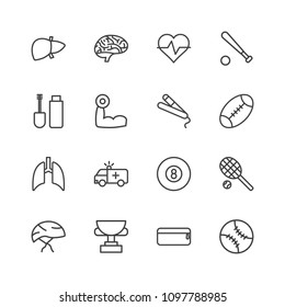 Vector illustration of outline icons for health, sports, beauty and cosmetics on white background. Set includes  mind,  league,  rescue,  heart,  bike,  sport, makeup modern flat and material icons.