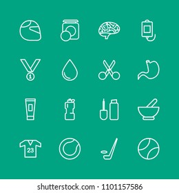 Vector illustration of outline icons for health, sports, beauty and cosmetics on green background. Set includes  sport,  shirt,  cream,  brush, skin, tennis,  bike, ice modern flat and material icons.