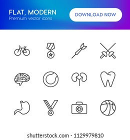 Vector illustration of outline icons for health, sports on white background. Set includes  mouth,  bicycle, medical,  mind, bike,  science,  body, basketball,  sword modern flat and material icons.