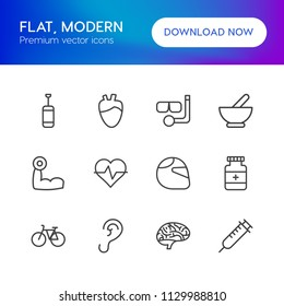 Vector illustration of outline icons for health, sports on white background. Set includes ear,  vitamin,  bike,  athlete,  snorkel, brain,  human,  motorcycle,  idea modern flat and material icons.