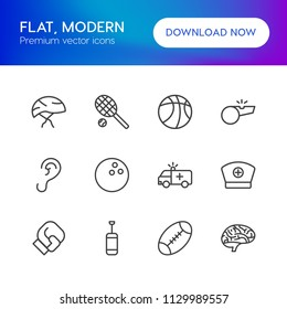 Vector illustration of outline icons for health, sports on white background. Set includes  care,  transportation,  background,  bicycle,  ring, brain,  hear,  game, ear modern flat and material icons.
