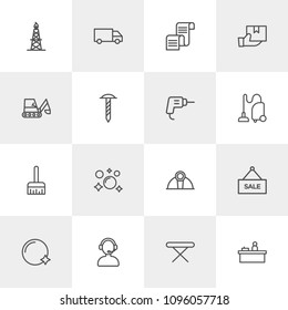Vector illustration of outline icons for industry, shopping, housekeeping on light background. Set includes  shine, helmet,  water,  gas,  brush,  truck, paint,  soap modern flat and material icons.
