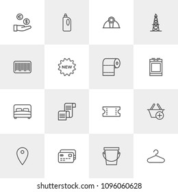 Vector illustration of outline icons for industry, shopping, housekeeping on light background. Set includes  credit,  room, pin,  tool,  clean,  building, industrial modern flat and material icons.