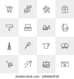 Vector illustration of outline icons for industry, shopping, housekeeping on light background. Set includes  craft, cotton,  post,  check,  gas,  postal,  sewing, brush modern flat and material icons.
