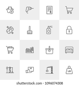 Vector illustration of outline icons for industry, shopping, housekeeping on light background. Set includes  pound, new,  basket, sponge,  construction,  picnic,  plant modern flat and material icons.