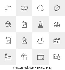 Vector illustration of outline icons for industry, shopping, housekeeping on light background. Set includes  industrial,  call, factory,  can,  building,  housework modern flat and material icons.