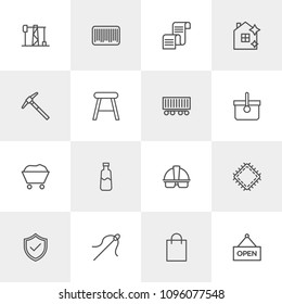 Vector illustration of outline icons for industry, shopping, housekeeping on light background. Set includes  power, gas,  label,  sewing,  check,  oil, work, needle modern flat and material icons.