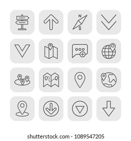 Vector illustration of outline icons for location, arrows, chat and messenger on white background. Set includes  choice,  add,  direction, arrow,  north,  pin,  success modern flat and material icons.