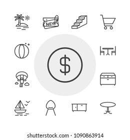 Vector illustration of outline icons for shopping, buildings, furniture, travel on white background. Set includes  paragliding, handle, table, boat,  ball,  beach, shop modern flat and material icons.