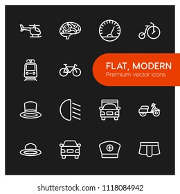 Vector illustration of outline icons for transports, health, clothes on dark background. Set includes bike, brain,  aircraft,  street, nurse,  idea,  care, helicopter modern flat and material icons.
