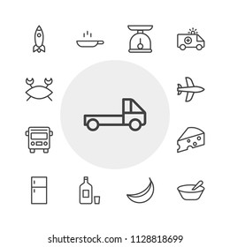 Vector illustration of outline icons for transports, food, drinks on white background. Set includes  public transportation,  road, people walking street,  healthy, crab modern flat and material icons.