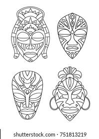 vector, illustration, outline, set, mask, africa, shaman, sorcerer, face, design element