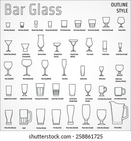 Vector Illustration of Outline silhouette Set of Bar Glass  for Design, Website, Background, Banner. Restaurant Element Isolated Template for Menu. Vodka, Beer, Whiskey, Wine for Infographic
