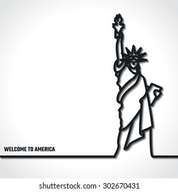 Vector Illustration of Outline     Statue of liberty Icon for Design, Website, Background, Banner. Silhouette Landmark Symbol of USA. Travel Infographic Element Template