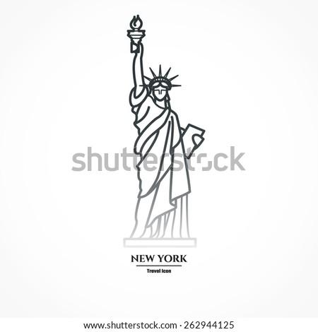 Vector Illustration Of Outline Statue Liberty Icon For Design Silhouette Landmark