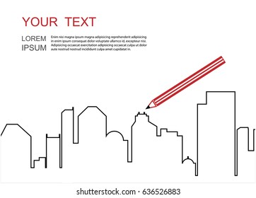 Vector illustration. The outlines of the buildings.