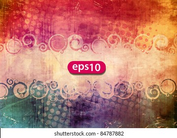 Vector illustration of an oval banner and swirls on a grungy background