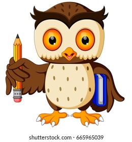 vector illustration of owl carrying book and pencil