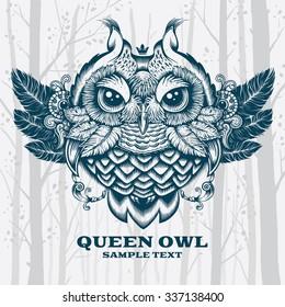 Vector Illustration Owl. Decorative graphics on White background