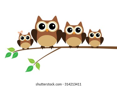 vector illustration of an owl family sitting in the tree