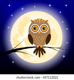 Vector illustration of owl at night sitting on the branch on the background with moon and stars