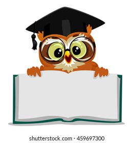 Vector Illustration of an Owl showing an Open Empty Book