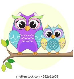 vector illustration of owl's family