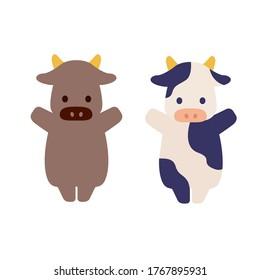 牛、牛のベクターイラスト。 2021年の中国と日本の新年の画像。 牛は2021年の干支です。 旧正月、ソラル。