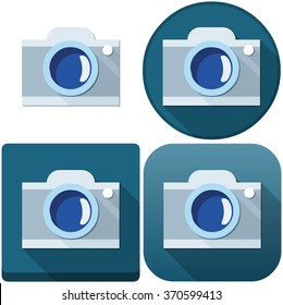 Vector illustration pack of a camera and camera icons.