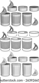 Vector illustration pack of various canned food cans color and lineart.