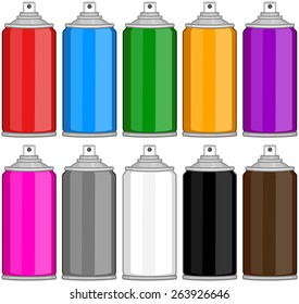 Vector illustration pack of various colored spray cans.