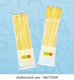 Vector illustration. Packages with spaghetti pasta. Open and closed packaging.