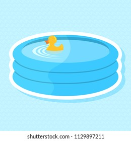 Vector illustration of a paddling pool with bath duck on a wave background. All layers are separated