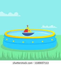 Vector illustration with a paddling pool and a boat inside.