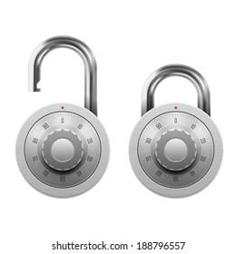 Vector illustration of padlock with combination lock wheel