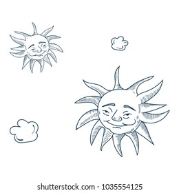 Vector illustration for pagan community: Midsummer, or Midsommar, Summer Solstice also known as St John's Day, the period of time centered upon the summer solstice. Two happy doodle suns.
