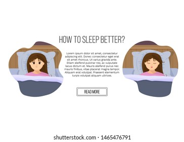 Vector illustration of page site in flat cartoon style with sad sleepless woman and sleeping girl in bed. Female insomniac trying to fall asleep. Problem of sleeplessness, nightmares, sleep disorder.
