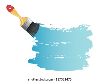 Vector illustration of Paint brush with blue splash