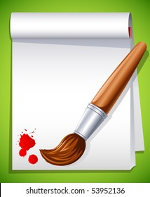 Vector illustration - paintbrush on the drawing pad