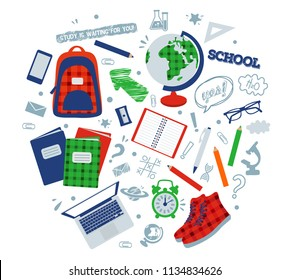 vector illustration of painted objects for school: backpack, globe, sneakers, microscope, textbooks, alarm clock, notepad, pencil, sharpener, pen, glasses, ruler